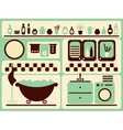 Bath room and bathing objects set vector