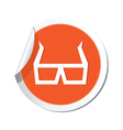 3d cinema glasses icon orange sticker vector