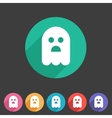 Halloween ghost flat icon badge vector