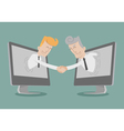 Businessman shake hand online business vector