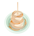 Dish of delicious grilled slice bananas with syrup vector