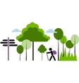 Backpacker with bag in a forest vector