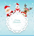 Santa claus snowman and reindeer blue background vector