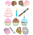 Cupcake bakery icon set vector