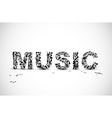 Music lettering made from black notes vector