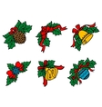 Christmas decors on leaves with red ribbons vector