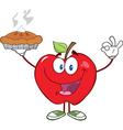 Happy red apple character holding up a pie vector