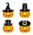 Halloween pumpkins in hats vector