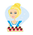 Sexy waitress with muffins on a tray vector
