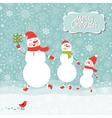 A family of three snowmen vector