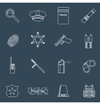Police icons outline vector
