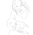 Mother and a baby sketch vector
