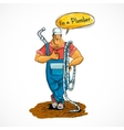 Plumber with water pipe and hose vector