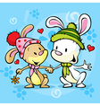 Cute bunny in love on winter abstract background vector