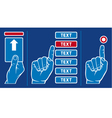 Hand inserting card into machine and push button vector