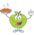 Happy green apple character holding up a pie vector
