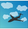 Plane silhouette in the sky vector