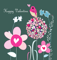 Flowers and love bird vector