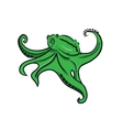 Cartoon cute green octopus on a white background vector