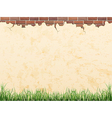 Vintage wall brick and grass vector