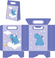Hippo handbags packages pattern vector