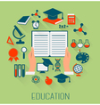 Flat design concept icons for education e-learning vector