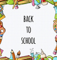 Seamless frameborder with school icons and a place vector