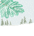Branch of christmas tree with snowflakes vector