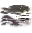 Mountains and lake on a moonlit night vector