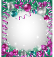 Christmas background with bright baubles vector