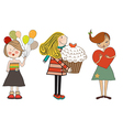 Set of three happy young girls with gifts isolated vector