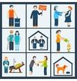 Social services icons set vector