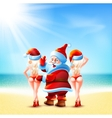 Santa claus and two girls vector