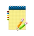 Yellow note paper and pencils vector