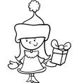 Santa claus girl cartoon coloring page vector