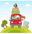 Man and woman traveling by the car vector