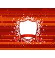 Shield red ribbon and decorative snowflakes vector