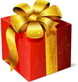Golden gift with red ribbon and bow isolated on vector