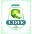 Ripe lime fruit on a juice or fruit product label vector