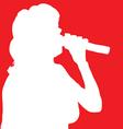 Singer woman white silhouette vector