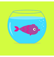Violet fish in the aquarium card vector