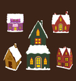 Set of winter christmas house for design vector