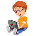 Boy cartoon with laptop vector