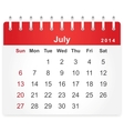 Stylish calendar page for july 2014 vector