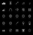 Music line icons with reflect on black background vector