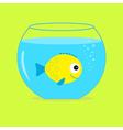 Yellow fish in the aquarium card vector