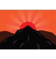 Silhouette mountain and red sun vector