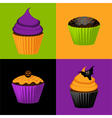 Halloween cupcakes vector