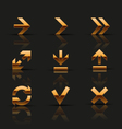Set of golden icons vector