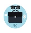 Icon briefcase and sunglasses business concept vector